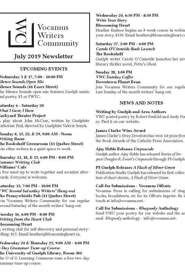 VWC Newsletter – July 2019 | Vocamus Press